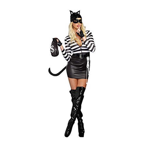 Dreamgirl Women's Cat Burglar Costume, Black/White, Small