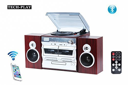 TechPlay ODC110 , Hi power 30W, 3-Speed Retro Classic Turntable with NFC Bluetooth, Double Cassett Player/Recorder, CD MP3 Player, with USB, SD Slots. AM/FM preset Radio and Remote. Wood Color