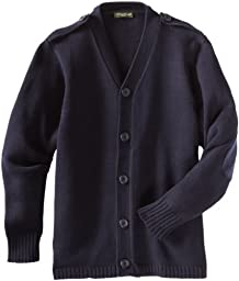 Eddie Bauer Big Boys Cardigan Sweater with Elbow Patches, Navy,10/12