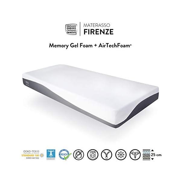 OnNuvo Materasso New Gel Memory Foam, 25 cm, Antidecubito, Alta Densita' 50-55 kg/m3, AirTeachFoam+, Ortopedico… 1 spesavip
