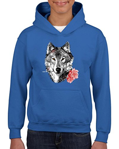 NIB Wolf With Carnatio Gift For BFF Birthday Christmas Party Fathers Day Youth Hoodies Sweater - Party Youth Sweatshirt