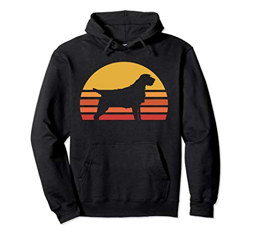 Retro Wirehaired Pointing Griffon Silhouette Sun Hoodie