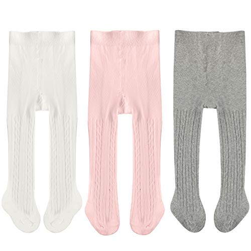 3 Pack Newborn Baby Leggings Cotton Seamless Baby Tights Toddler Infant Footed Stocking Pantyhose for Baby Boys Girls (12-24 Months, White Pink Grey) -