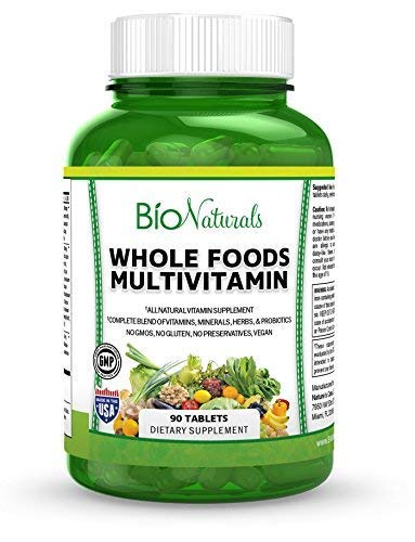 Whole Foods Multivitamin For Men & Women – 100% Natural & Vegan With Vitamins A B C D E, Minerals, Herbs, Omega 3, Probiotics, Organic Vegetable & Fruit Extracts – No GMOs or Gluten – 90 Tablets For Sale