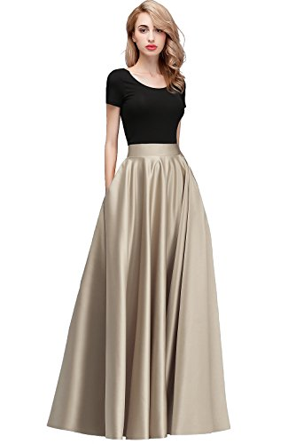 Honey Qiao Women's Satin Long Floor Length High Waist Prom Party Skirts (S, Champagne) ()