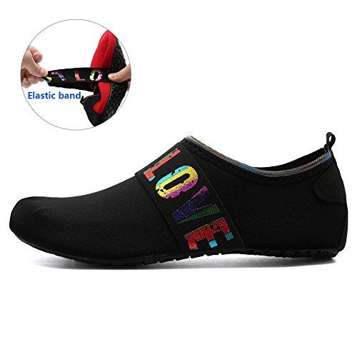 EQUICK Frauen Wasser Schuhe Quick-Dry Verschnaufpause Sport Haut Schuhe Barfuß Anti-Rutsch-Multifunktionssocken Yoga Übung L.black