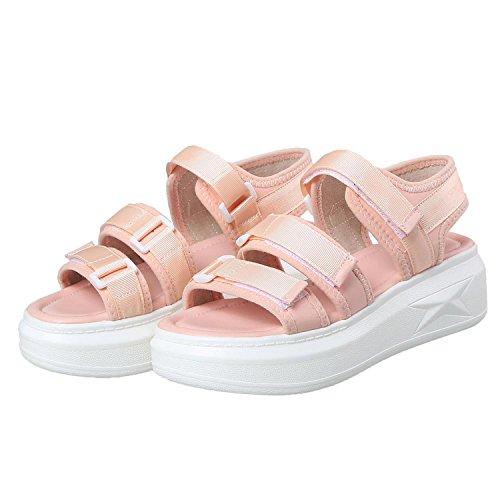 Kingwhisht Wedges Ladies Open Toe Black Pink Platform Casual Breathable Comfort Sandals,Pink,6 ()