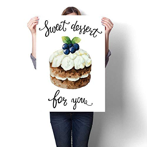 Anshesix Hanging Painting Watercolor Cake with Hand Lettering Sweet Dessert for You Ready to Hang for Home Decorations Wall Decor 16