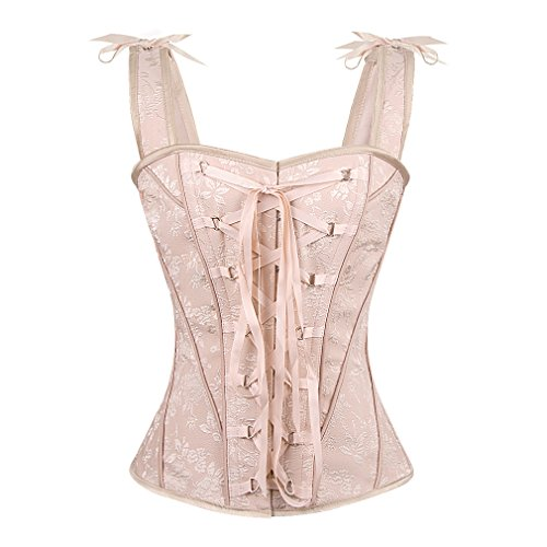 Spiral Steel Boned Vintage Inspired Overbust Corset With Angled Panels and Shoulder Straps (XL, Georgian Pink)