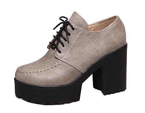 Aalardom Pu Talon Gris Cuir Haut À Chaussures Légeres Lacet Couleur Femme Unie Rond r57xZr