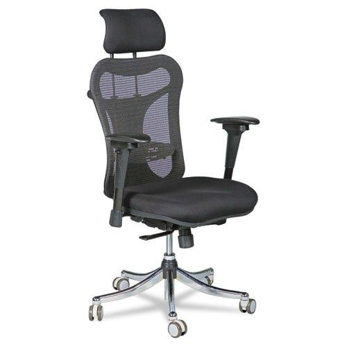 BALT 34434 Ergo Ex Executive Office Chair, Mesh Back/Upholstered Seat, Black/Chrome
