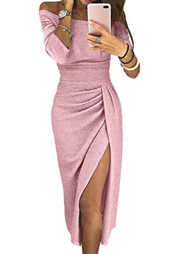 - HUUSA Off Shoulder Metallic Shiny Womens Plus Size Formal Black Evening Party Prom Cocktail Sexy Elegant Bodycon Midi Dress X-Large (US 16-18) Pink