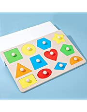 Träpussel för småbarn, tredimensionell geometrisk figur för barn, pedagogiska leksaker för barn, Montessori leksaker för förskoleutbildningspresent, alfabet nummerform pedagogiska pussel för barn