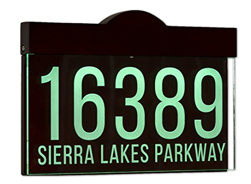 Hand-Made 12-16 V AC Auto On/Off Custom Illuminated House Numbers Address Sign Address Plaque Lighted with LED - Laser Engraved On Acrylic Sign With Wood Frame - Custom Lighted Signs