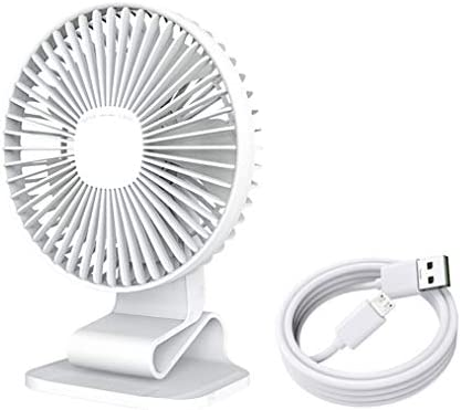 "USB Desk Fan, 7"" Clip on Fan, Silent Fan for Desktop Office Home Table, 120° Adjustment for Better Cooling, 3 Speeds Strong Airflow, White"
