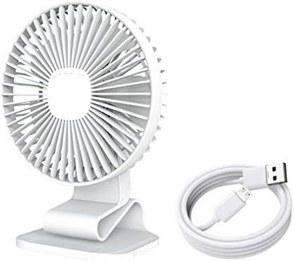 "USB Desk Fan, 7"" Clip on Fan, Silent Fan for Desktop Office Home Table, 120° Adjustment for Better Cooling, 3 Speeds Strong Airflow, White"