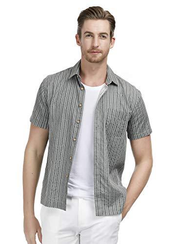 (PAUL JONES Mens Shirts Short Sleeve Casual Button Down Shirt Formal Size M Green )