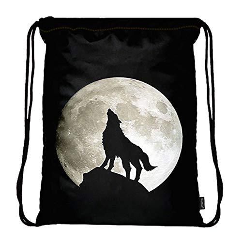 b4a4f6ad99fb Meffort Inc Lightweight Drawstring Bag Sport Gym Sack Bag Backpack with  Side Pocket - Wolf Howling Moon