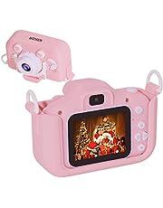 Salandens Mini Cámara para Niños 1080P HD cámara de Video Digital para niños con Tarjeta de Memoria de 32GB, Pantalla IPS de 2.0, 20 MP,a Prueba de Golpes, Regalo para Niños y Niñas(Rosa)