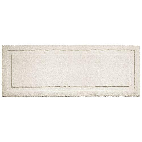 """mDesign Soft Microfiber Polyester Non-Slip Extra-Long Spa Mat/Runner, Plush Water Absorbent Accent Rug for Bathroom Vanity, Bathtub/Shower, Machine Washable - 60"""" x 21"""" - Ivory"""