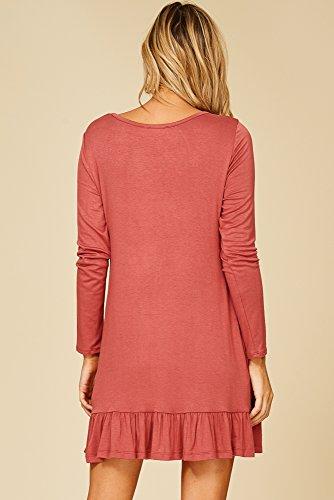 Ruffle Neck Sleeve Hem Annabelle Pocket Round Brick Long Womens Dresses 4qn7wF