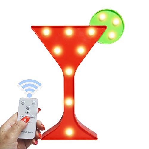 Pooqla Light Up Wine Martini Cocktail Cup Shaped Marquee Sign Decorative Night Light with Remote Timer Dimmable for Home Bar Club Decoration