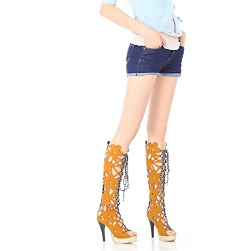RFF-Spring, summer and autumn shoes in The Summer Before Europe and The Tether Strap Women's Cool Boots Ultra-high with Exposed Yellow