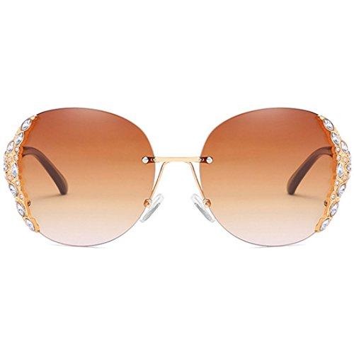 Dorado sol sol diamantes Yefree de Gafas moda de Gafas de sol enmarcadas Gafas sin Gafas con marco de de de mujer sol Marrón w7TBRw