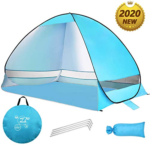 🥇 MOISO Pop Up Beach Tent Sun Shelter Anti UV Beach Shelter for Outdoor Sets Up in Seconds 3-4 Person Portable Tent