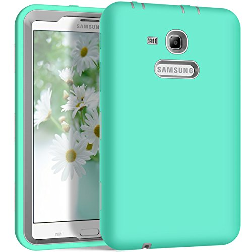 Lite 7.0 Case, Galaxy Tab 3 Lite 7.0 Case, Hocase Shockproof Silicone Rubber Hard Shell Case w/Raised Edges Screen Protection for SM-T110/SM-T111/SM-T113/SM-T116 - Teal/Grey ()