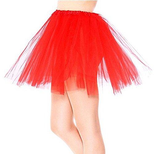 SRANDER Women's Classic Elastic 3 layered Tulle Tutu Skirt red