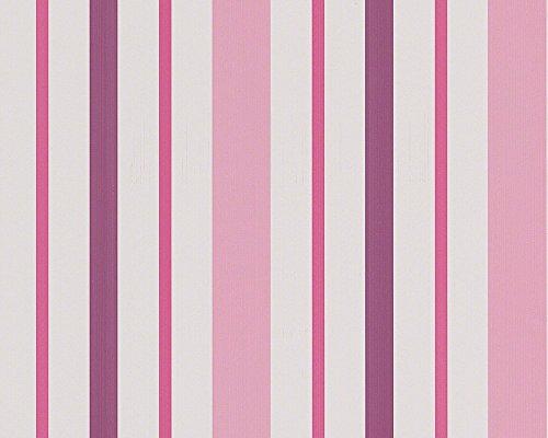 A.S. Création Tapete Boys & Girls 5 Papiertapete Kindertapete 10,05 m x 0,53 m rosa lila weiß 898319
