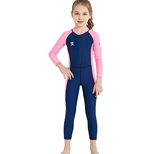 Suit Paddling (DIVE & SAIL Kids Wetsuit UPF 50+ Quick Dry Swimming Costume Thermal Insulation Rash Guard Lightweight Spring Suit for Swimming Boating Paddling Dark Blue L)