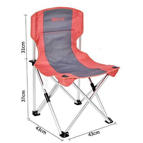 Outdoor Aluminum Alloy Folding Chair Portable Beach Chair Lightweight Backrest Fishing Chair Double Cloth Removable And Washable Fabric (Color : Red ash)