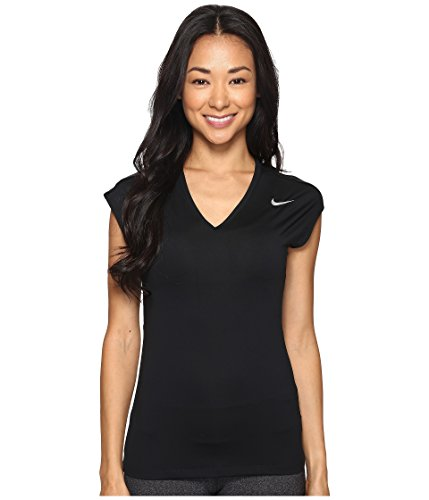 088e0fdb SHOPUS | NIKE Women's Dry Golf Top, Black/Metallic Silver, Medium