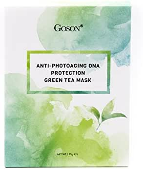 Goson Tea Infused Skin Care Face Mask Sheets - Hydrating, Moisturizing, Collagen Facial Sheet Mask - Green Tea Face Masks (5 Face Mask Pack)