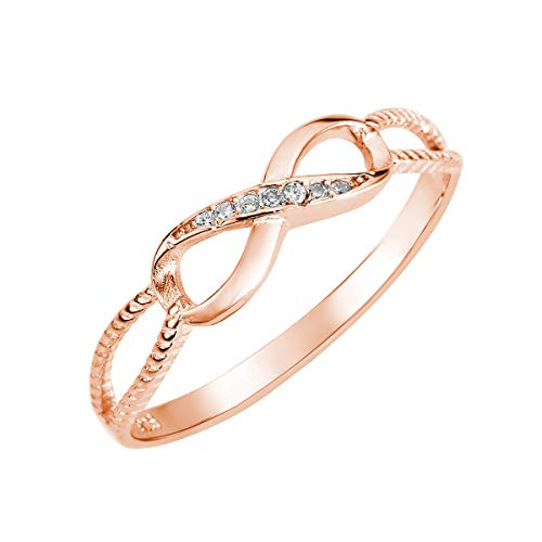 CloseoutWarehouse Cubic Zirconia Designer Aura Infinity Ring Rose Gold-Tone Plated Sterling Silver Size 7 (Cocktail Tone Ring Gold)