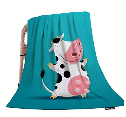 HGOD DESIGNS Cow Throw Blanket,Funny Mascot Smiling Cow Soft Warm Decorative Throw Blanket for Bed Chair Couch Sofa 50