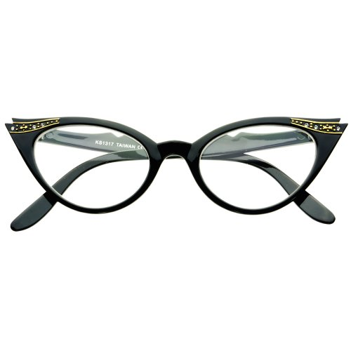 - Rhinestones Tip Pointed Clear Lens Cat Eye Glasses Retro Vintage Fashion Frames (Black)