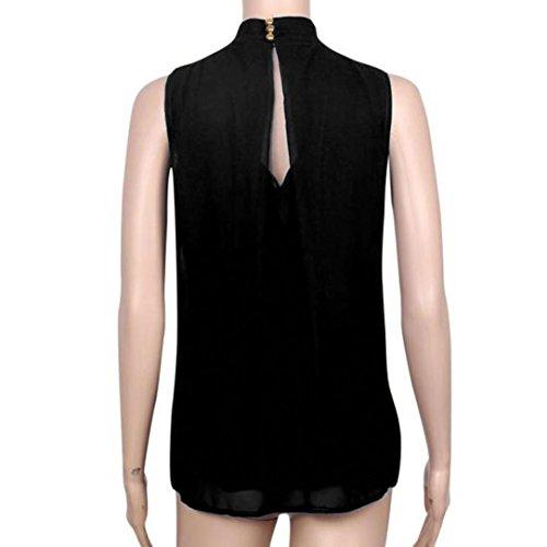 Blusa para Mujeres - Rcool - Camiseta Sin Mangas de la Blusa de Gasa de las Mujeres Camiseta Tops Negro
