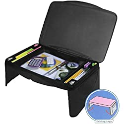 """Black Folding 17"""" x 11"""" Lap Desk with Storage - Durable Lightweight Portable Laptop Computer Children Adult Desks for Homework or Reading. Breakfast Tray Food Table"""
