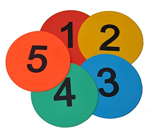 Eco Walker 8inch Numbered Floor Spot Markers Set of 5 (1-5)