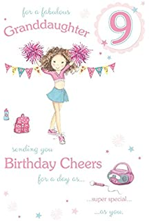 Fabulous Granddaughter Age 9 Large Luxury 9th Birthday Card