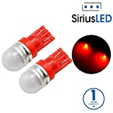 SiriusLED Super Bright 1W 360 Degree Projector LED Bulbs for Interior Car Lights Gauge Instrument Panel Dome Map Side Marker Door Courtesy License Plate T10 168 192 194 2825 W5W Red
