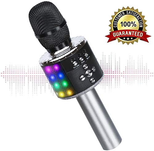 Wireless Bluetooth Karaoke Microphone with Multi-color LED Lights, 4 in 1 Portable Handheld Home Party Karaoke Speaker Machine for Android/iPhone/iPad/Sony/PC (Space gray) ()