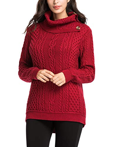 PrettyGuide Women's Cowl Neck Sweater Cable Knit Button Tunic Pullover Tops L Red