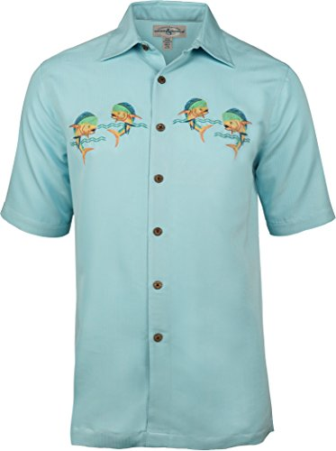 Hook & Tackle Men's Let's Dance Embroidered Fishing Shirt XLarge Turquesa