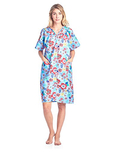 Casual Nights Women's Floral Woven Snap-Front Lounger House Dress - Blue - XX-Large by Casual Nights (Image #2)