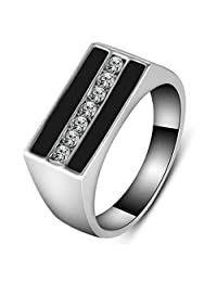 K-DESIGN : Bague Homme Fashion White Gold Plated Black Enamel AAA CZ Diamond Mens