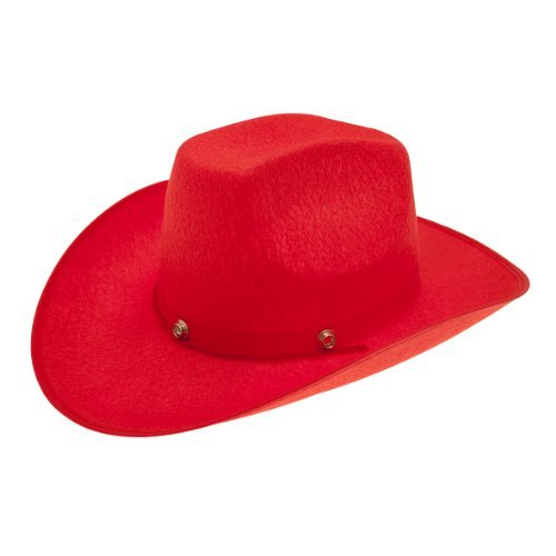 [Hat Felt Trampas Red for Fancy Dress Party Accessory by Pams] (Red Felt Cowboy Hat With Band)